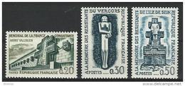 """FR YT 1335 à 1337 """" Hauts Lieux De La Résistance """" 1962 Neuf** - France"""