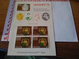 144264 FOGLIETTO DI FRANCOBOLLI STAMPS SVIZZERA  PHASES D' IMPRESSION DU TIMBRE POSTE SPECIAL - Svizzera