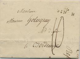 ZZ448 - Lettre Précurseur FONTAINE L'EVEQUE Via 86 BINCH 1809 Vers BORDEAUX - Port Encre 10 Décimes - 1794-1814 (Période Française)