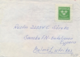 Sweden 1964 Cover By Military Franchise From Boden To Swedish Battalion In Cyprus UN Keeping Force - Militaria