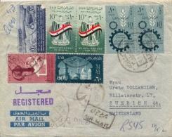 Egypt 1960 Registered Airmail Censored Cover To Switzerland With Aswan + UAR + Cairo Fair + Arab Emigrants + Al Azhar - Egypt