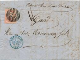 ZZ449 - Lettre Echantillons Sans Valeur TP 8 ( Margé , 1 TB Voisin ) BRUXELLES 1857 Vers GAND - Double Port - 1851-1857 Medallions (6/8)