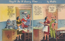 They'll Do It Every Time Humor Series, Man Helps With Dishes, C1930s/40s Vintage Postcard - Marriages