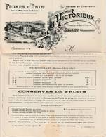 24 Dordogne - EYMET - 1911 - Prunes D' Ente - Tarif J.Victorieux -Domaine De St Hilaire - Alimentaire