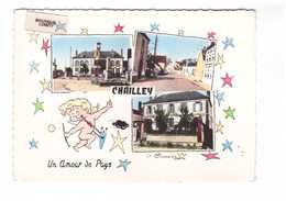 89 Chailley La Mairie Grande Rue Ecole Carte 3 Vues Un Amour De Pays Ange Arc Fleche CPSM GF Cachet 1964 - Autres Communes