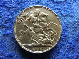 GREAT BRITAIN 1 CROWN 1897 LX, KM783 Rubbed - Otros