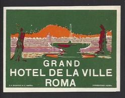 étiquette Valise  -  Hôtel De La Ville à  Roma  (Rome)   Italie - Hotel Labels