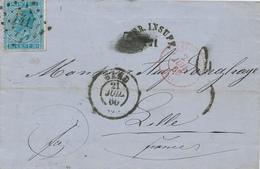 ZZ454 - Lettre TP 18 GAND 1866 Vers LILLE - PD Annulé Et Affr. Insuff. 141 - Taxation 3 Décimes - 1865-1866 Linksprofil