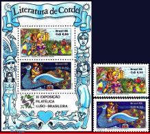 Ref. BR-2087-88A BRAZIL 1986 FOLKLORE, LUBRAPEX, CORDEL FOLK, TALES, THEATER, SET AND S/S MNH 4V Sc# 2087-2088A - Brésil