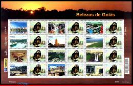 Ref. BR-3158-4 BRAZIL 2010 CITIES, GOIAS, WATERFALLS, OWL,, ARCHITECTURE, PERSONALIZED MNH 12V Sc# 3158 - Gepersonaliseerde Postzegels