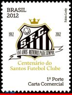 Ref. BR-3215 BRAZIL 2012 FOOTBALL-SOCCER, CENTENARY OF THE SANTOS,, FAMOUS CLUBS, SPORT, MNH 1V Sc# 3215 - Brazil