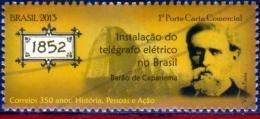 Ref. BR-3239H BRAZIL 2013 POST, ELECTRIC TELEGRAPH (1852), ,BARON CAPANEMA, FAMOUS PEOPLE, MNH 1V Sc# 3239H - Brasile