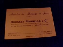 Carte De Visite Brosset /ponnelle Et Cie Articles De Menages En Gros A Talant Cote Dor - Autres