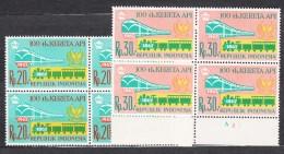 Indonesia 1968 Railway Trains Mi#605-606 Mint Never Hinged Blocks Of Four - Indonésie