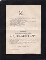 14-18 TARNOPOL Jacques DE BECKER REMY Ixelles 1893 - Tarnopol Juin 1916 Corps Belge Des Auto-mitrailleuses - Décès
