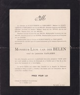 Château De SEVISCOURT LUXEMBOURG Léon Van Der BELEN Veuf CARLEER 74 Ans 1913 - Obituary Notices