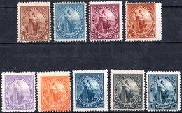 EL SALVADOR, FIGURE ALLEGORICHE, LIBERTA, 1894, FRANCOBOLLI NUOVI (MLH*),  YT 77-81,83-86   Scott 91-95,97-100 - El Salvador