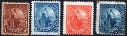 EL SALVADOR, FIGURE ALLEGORICHE, LIBERTA, 1894, FRANCOBOLLI NUOVI (MLH*),  YT 77,78,82,83   Scott 91,92,96,97 - El Salvador
