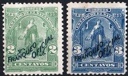 EL SALVADOR, FIGURE ALLEGORICHE, CERES, UPU, 1899, FRANCOBOLLI NUOVI (MLH*),  Scott O150,O151 - El Salvador