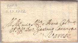 A -STATO PONTIFICIO - LETTERA PREFILATELICA DA ROMA A VARESE - 1722 - Italy