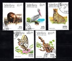 Laos 1996 Mi Nr  1504 - 1508: Fauna, Bear, Panter, Butterfly, Snake - Laos