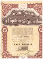Ancienne Action - Société Anonyme Des Papeteries De Saventhem - Industrie