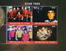 Chad 2018 CTO Star Trek Leonard Nimoy Spock William Shatner Capt Kirk USS Enterprise 4v M/S Stamps - Stamps