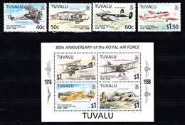 Tuvalu 1998 Mi Nr 793 - 796 + Blok 63: 80 Jaar RAF. Airplane - Tuvalu