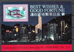Tuvalu 1997 Mi Nr Blok 59, Vissen, Fish, The Return Van Hong Kong To China - Tuvalu