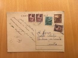 CARTOLINA POSTALE-CICALA X CARONTE-CATANZARO-8-8-1947-AFFRANCATA CON DEMOCRATICA LIRE 1+2X3+3 - 6. 1946-.. Repubblica