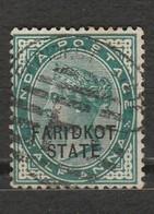 Inde - Timbre Reine Victoria Half Anna Surchargé Faridkot State - Faridkot