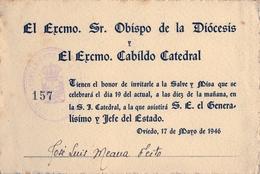 1946 , ASTURIAS , AYUNTAMIENTO DE OVIEDO , INVITACIÓN DEL EXCMO. OBISPO DE LA DIOCESIS, GENERALISIMO FRANCO - Documentos Antiguos