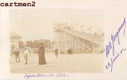 CARTE PHOTO : LILLE EXPOSITION MONTAGNE RUSSE ATTRACTION FETE FORAINE LUNA-PARK 1900 - Lille