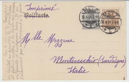 128-Metzo-Germania Reich-Monumento A Fabert-Storia Postale:2+3p.-v.1904 X L' Estero:Montevecchio-Sardegna-Italia - Germany