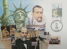 L) 1988 USA, CITY, NEW YORK, ARCHITECTURE, STATUE OF LIBERTY, BOAT, ROBERT FULTON, SPORT, BASEBALL, MAXIMUM CARD - Maximumkarten (MC)