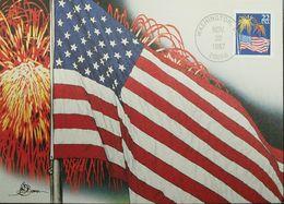 L) 1987 USA, FLAG, FIREWORKS, 22, MAXIMUM CARD - Maximumkarten (MC)