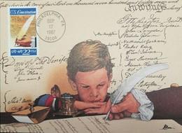 L) 1987 USA, CONSTITUTION, 1787 - 1987, RATIFICATION OF THE US CONSTITUTION, WRITING PEN, MAXIMUM CARD - Maximumkarten (MC)