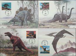 L) 1989 USA, DINOSAURS, TYRANNOSAURUS, PTERANODON, BRONTOSAURUS, STEGPSAURUS, SET OF 4, MAXIMUM CARD - Maximumkarten (MC)