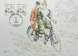 L) 1988 USA, BICYCLE, PEOPLE, DOG, BIKE, TREE, MAXIMUM CARD - Maximumkarten (MC)