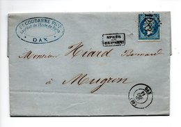 LETTRE . NAPOLÉON 20c . DE DAX À MUGRON LANDES . 11/12/1867 . PHARMACIE ET DROGUERIE F. COUDANNE DAX - Réf. N°707T - - Marcophilie (Lettres)