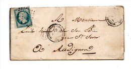 LETTRE . NAPOLÉON 20c . SAINT-SEVER . MONTFORT . AUBIGNON . LANDES . 9 FÉVRIER 1855 - Réf. N°709T - - Postmark Collection (Covers)