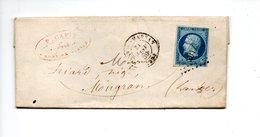 LETTRE. NAPOLÉON 20c. DE MONT-DE-MARSAN À MUGRON . LANDES . 26 MARS 1860 . P. CAPIN AVOUÉ MONT-DE-MARSAN - Réf. N°711T - - Postmark Collection (Covers)