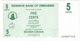 Zimbabwe 5 Cents 01-08-2006 Pick 34 UNC - Zimbabwe