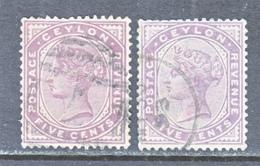 CEYLON  131, 131 A  Type I & II  (o)   Wmk. 2 - Ceylon (...-1947)