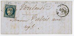 PAS DE CALAIS LAC 1852 HESDIN PC SUR N°4 DFT + T15 - Marcophilie (Lettres)