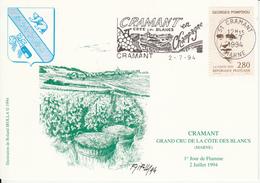 51 CRAMANT 1994 Pompidou YT 2875 - Illustation Roland Irolla - CHAMPAGNE - Cartes-Maximum