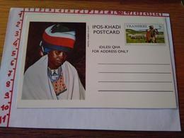 144276 CARTOLINA POSTALE  TRANSKEI IPOS KHADI POSTCARD IDILESI QHA  FOR ADDRESS ONLY - Sud Africa
