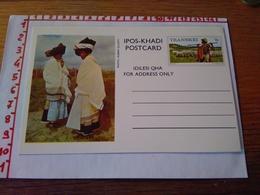 144277 CARTOLINA POSTALE  TRANSKEI IPOS KHADI POSTCARD IDILESI QHA  FOR ADDRESS ONLY - Sud Africa
