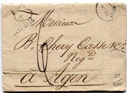 HERAULT De AGDE LAC Du 08/07/1829 Avec Linéaire 26x12 + Dateur A Taxée 6 Pour AGEN - Marcophilie (Lettres)