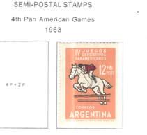 Argentina POSP 1963 4 Pan Am.Games  Scott.B 43 See Scan On Scott.Page - Argentina